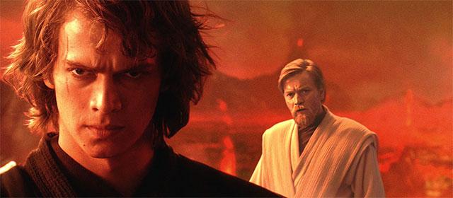 Hayden Christensen et Ewan McGregor dans Star Wars Episode III : La Revanche des Sith (2005)