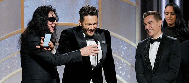 Tommy Wiseau, James Franco et Dave Franco aux Golden Globes 2018 (© Paul Drinkwater/NBC)