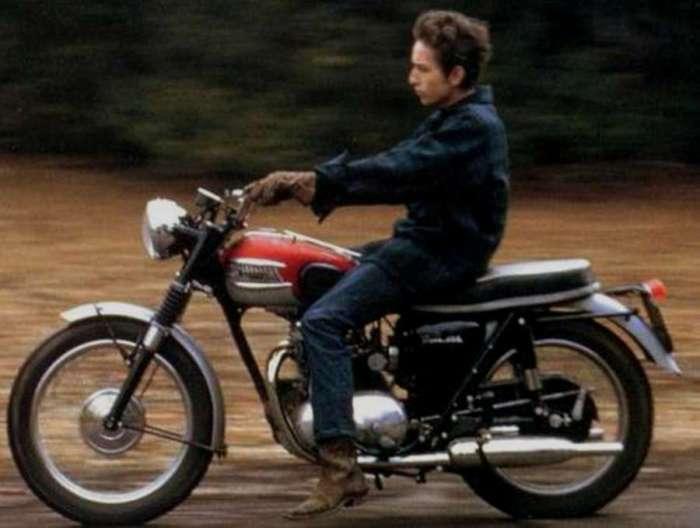 Bob Dylan on his Triumph Motorcycle (ALARM Magazine)