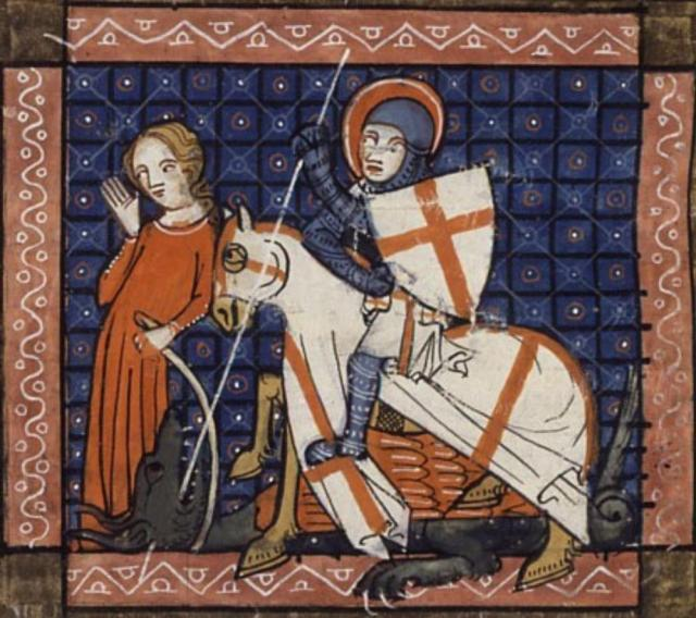 Historical painting of the knight Saint George slaying a dragon