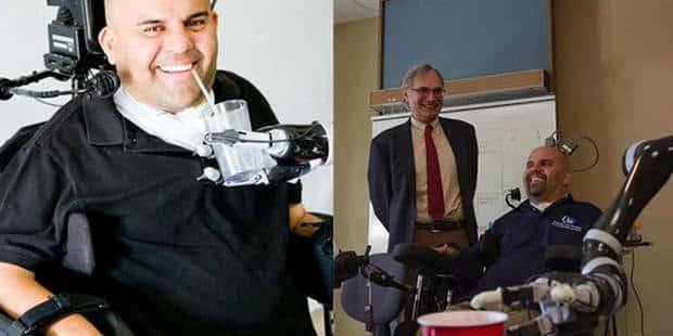 Un tétraplégique actionne un bras artificiel grâce à la pensée
