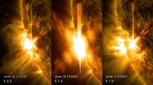 Three X-class flares erupted from the left side of the sun June 10-11, 2014. These images are from NASA's Solar Dynamics Observatory and show light in a blend of two ultraviolet wavelengths: 171 and 131 angstroms. The former is colorized in yellow; the latter, in red. Image Credit: NASA/SDO
