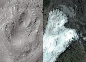 Left: Linear and lobate morphologies on the highest reaches of Aeolis Mons were shaped by glacial activity in the past. Right: Breiðamerkurjökull glacier, Iceland, a terrestrial analog of the glacial remains identified on Gale.  Credit: CTX-MRO-NASA/Google maps