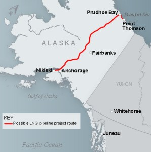 Proposed LNG project route. Image-State of Alaska