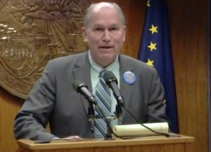 Governor Walker at news conference on Thursday. Image-State of Alaska