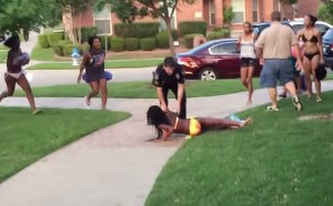McKinney Police Officer, Cpl. Eric Casebolt, can be seen here after he throws 14-year-old to the pavement. Image-Brandon Brooks video screenshot.