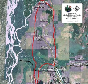 Alaska Division of Forestry image of fire area.