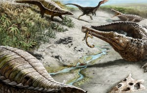 Some 212 million years ago, landscapes weren't all dinosaur-friendly: dry, hot, with wildfires. Credit: Victor Leshyk