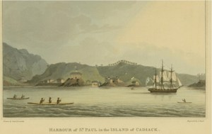 This 1814 print includes an image of the Neva. Credit: Dave McMahan, Sitka Historical Society