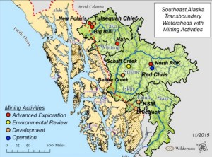 Southeast Alaska Transboundary Watersheds with mining activities. Image-Salmon without Borders