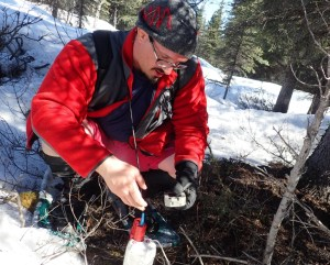 Amir Allam of the University of Utah and UAF installs a temporary seismometer near the Denali Fault between Delta Junction and Glennallen. Image-Ned Rozell