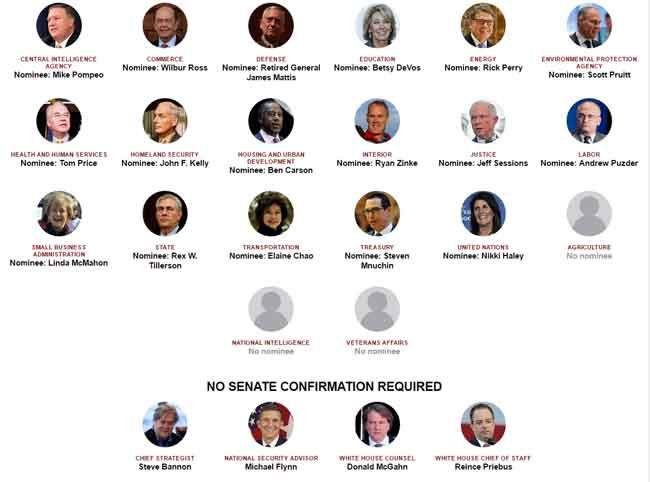 Billionaires, Generals Predominate in Trump's Proposed Cabinet