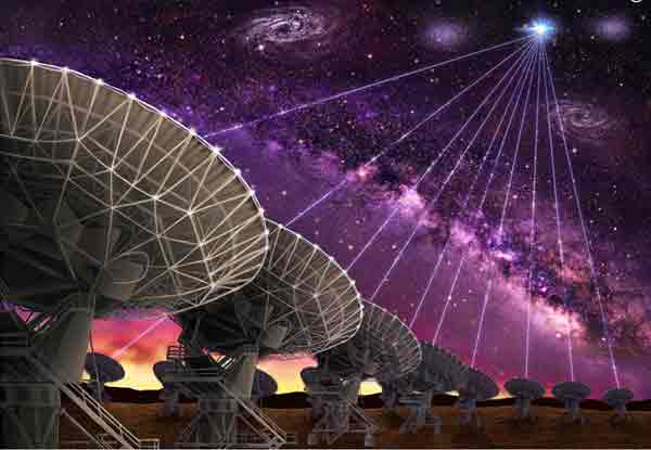 The Very Large Array pinpointed for the first time the location of a fast radio burst in a dwarf galaxy about 3 billion light years from Earth. Artist's impression by Danielle Futselaar (www.artsource.nl)