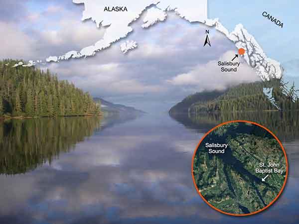 Study location at St. John Baptist Bay in Southeast Alaska.  Photo: Karson Coutré  Map: Rebecca White, NOAA Fisheries