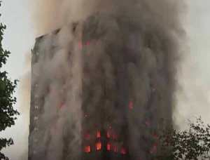 The 24-story Grenfell Towers apartment building went up in a blaze early Wednesday morning. Image-VOA
