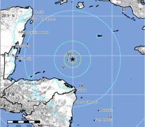 Caribbean quake.Map-USGS