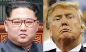 Kim Jong Un (L) and Donald Trump (R)
