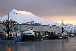 Crab boats moored in Dutch Harbor, AK with Mount Ballyhoo in the background. Image-National Institute for Occupational Safety and Health