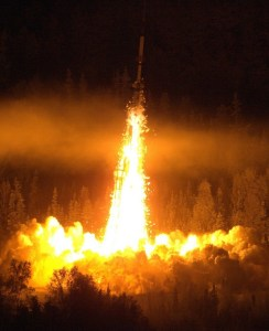 A NASA Oriole IV sounding rocket with the Aural Spatial Structures Probe leaves the launch pad on Jan. 28, 2015, from the Poker Flat Research Range in Alaska. Image Credit: NASA/Lee Wingfield