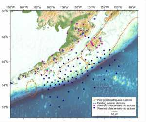 Purple circles show the location of land-based seismometers on the Alaska Peninsula, Kodiak Island and smaller islands. Dark-blue circles show the location of seafloor seismometers that will be put out for the 15-month experiment.Alaska Amphibious Community Experiment (Click to view larger image)