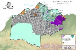 Map showing available tracts for lease in the National Petroleum Reserve. Image-BLM (Click here for larger version on BLM site)