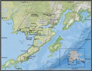Pebble Project Location and the Bristol Bay Region. Image-Institute of Social and Economic Research University of Alaska Anchorage