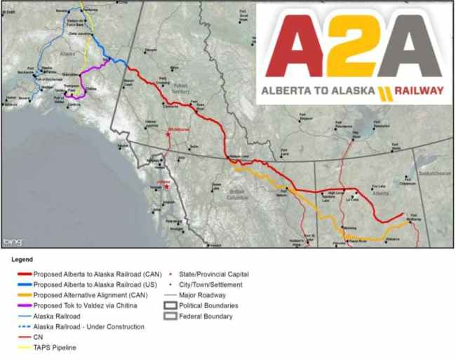 Proposed railway routes in Canada and Alaska. Map-A2A