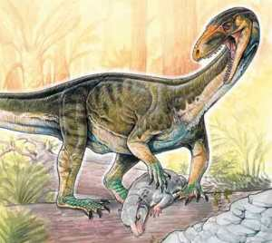 """An artist's rendering of the new species Teleocrater rhadinus hunting a cynodont, a close relative of mammals. (Gabriel Lio / Museo Argentino de Ciencias Naturales """"Bernardino Rivadavia"""")    Read more: https://www.smithsonianmag.com/science/there-were-dinosaurs-there-was-weird-crocodile-looking-thing-180962865/#g8YqXD6vuS2bI6bQ.99 Give the gift of Smithsonian magazine for only $12! https://bit.ly/1cGUiGv Follow us: @SmithsonianMag on Twitter"""