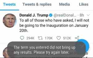 Trump's final tweet prior to the social media site permanently closing  down his account severing his ties to 88 million Twitter followers. Image-Twitter
