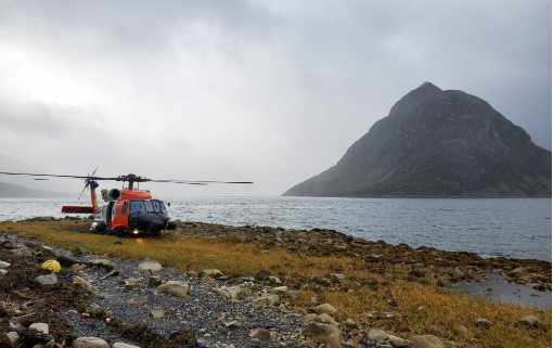 Coast Guard Aircrew Rescues Hunter after Vessel Sinks in Three Saints Bay
