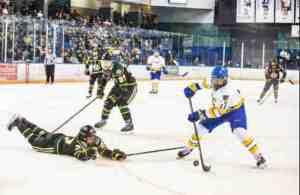 University of Alaska Fairbanks hockey team forward Steven Jandric in action against the UAA Seawolves. Photo by JR Ancheta, UAF Photography