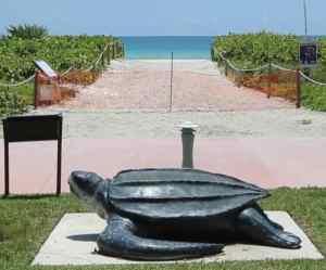 Closed beach in Florida.