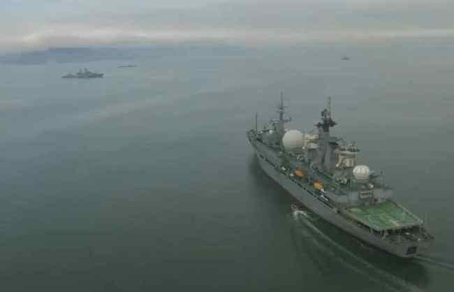 Russian warships in the Bering Sea. mod_russia/Twitter