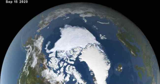 In the Arctic Ocean, sea ice reached its minimum extent of 1.44 million square miles (3.74 million square kilometers) on Sept. 15—the second-lowest extent since modern record keeping began. (Image: NASA's Scientific Visualization Studio)