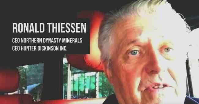 Ronald Thiessen, CEO of Northern Dynasty Minerals, which owns Pebble Limited Partnership, was secretly recorded by the Environmental Investigation Agency in tapes showing that the companies' plans for a mine near Bristol Bay, Alaska, are far more expansive than they've publicly acknowledged. (Image: Screenshot, EIA)