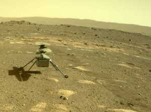 NASA's Ingenuity helicopter can be seen on Mars as viewed by the Perseverance rover's rear Hazard Camera on April 4, 2021, the 44th Martian day, or sol of the mission. Credits: NASA/JPL-Caltech