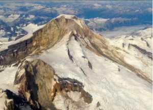 The glaciers and rock of10,015 foot Illiamna Volcano. Photo by Matt Loewen, Alaska Volcano Observatory
