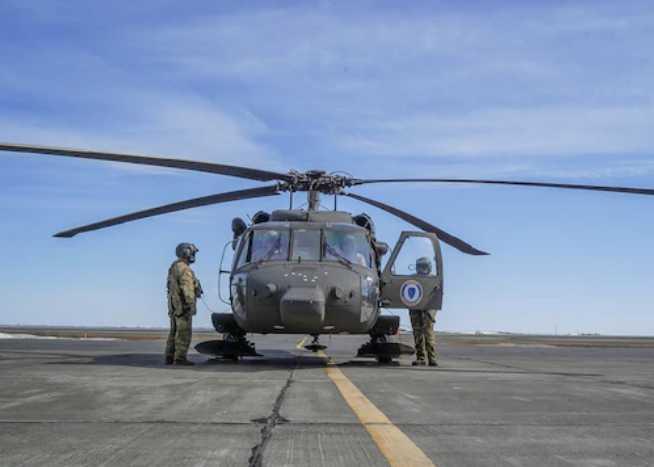 Alaska Army National Guard Black Hawk is in Bethel for spring flood season