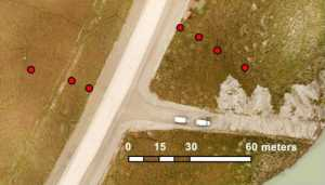 This illustration from the article shos the location of the location of temperature sensors at the Dalton Highway research site. Drone photo by Soraya Kaiser.Illustration distributed under Creative Commons 4.0 International
