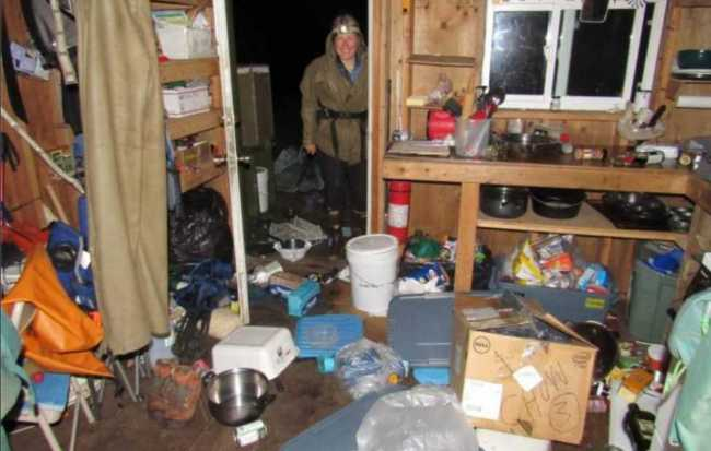 This photo sent via satellite phone shows the  interior of the cabin on Chowlet Island a few hours after the 8.2 magnitude earthquake. Photo by Katie Stoner Alaska Maritime National Wildlife Refuge.