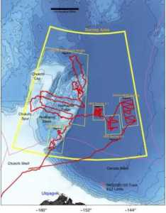 The  map shows the track of the research vessel, Sikuliaq in the Arctic Ocean. Image-Bernard Coakley