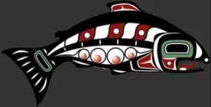 Annual Spring King Salmon Derby logo designed by Archie Cavanaugh. Image-Tlingit-Haida Central Council