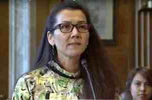 Mary Peltola, Executive Director of the Kuskokwim Inter-Tribal Fish Commission testifies during the Senate Committee on Indian Affairs hearing. Image-Office of Senator Murkowski