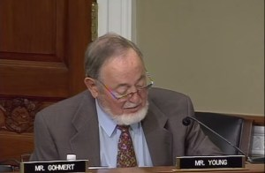 Representative speaking to committee on the Native American Energy Act in September.