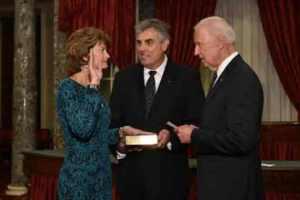 Alaska's Senator, Lisa Murkowski sworn in for her fourth term by Vice-President Jpseph Biden.