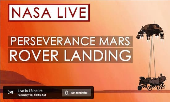 Watch the Mars Rover Landing-February 18th
