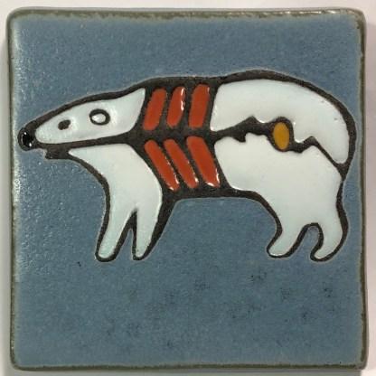 "4"" X-ray Style Polar Bear Art Tile"