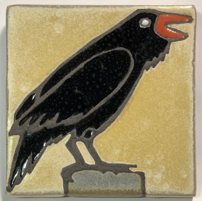 "4"" Right Facing Raven Art Tile"