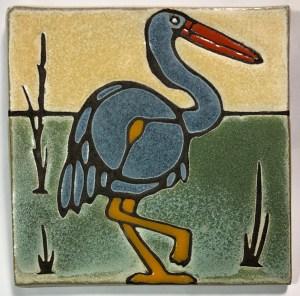 "6"" Blue Heron Art Tile"
