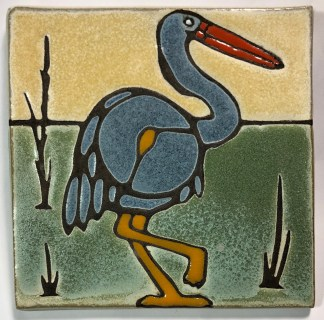 "6"" Blue Heron Art Tile"